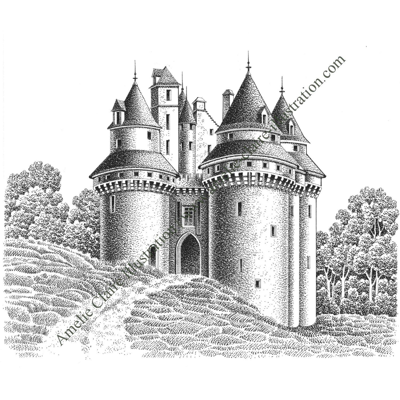 Ch teau fort amelie claire illustration traditionnelle - Dessin chateau moyen age ...