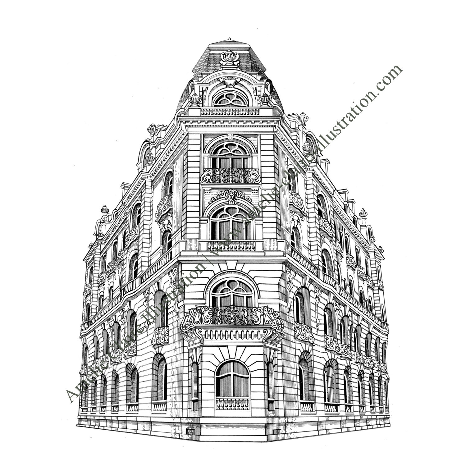 Favori Immeuble Haussmannien - Amelie Claire illustration traditionnelle VV92