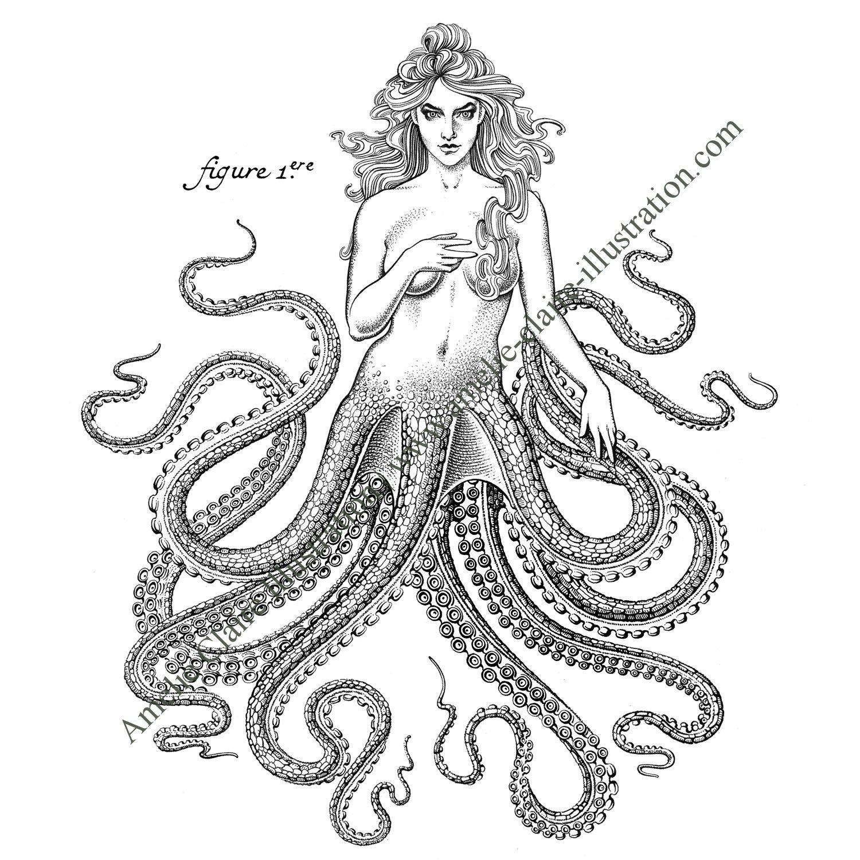 Femme pieuvre - Amelie Claire illustration traditionnelle